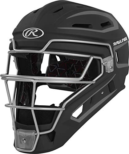 Rawlings Velo Series 2.0 Two-Tone Baseball Catcher's Helmet, Matte Black and Graphite, Junior