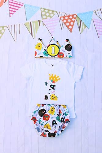 Conjunto primer cumpleaños corona de tela reversible monstruos camiseta personalizada cubrepañal