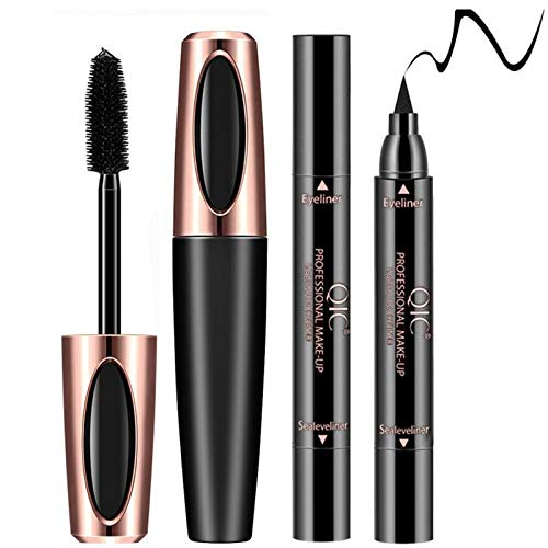 4D Silk Fiber Eye Lash Mascara With Eyeliner Stamp, Liquid Extension, Best for Eyelash Thickening & Lengthening, Long Lasting Waterproof, Natural & Non-Toxic Hypoallergenic Ingredients (Black)