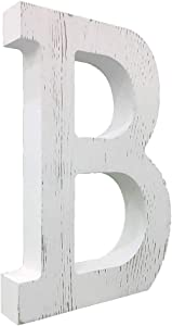 Large Wood Decor Letters Wood Distressed White Letters DIY Block Words Sign Alphabet Free Standing Hanging for Home Bedroom Office Wedding Party (B)