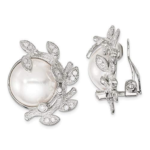 Saris and Things 925 clip de plata esterlina cz y simulado perla volver pendientes