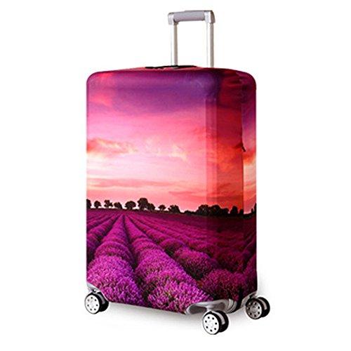 Reise Suitcase Protector Reißverschluss Koffer Abdeckung Waschbar Drucken Gepäck Abdeckung 18-32 Zoll (Purple, XL(for29-32 inch Luggage))