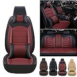 Fundas de asiento de coche personalizadas 5 asientos para VOLVO S60 2001-2020 fundas de asiento delantero y trasero de cuero con reposacabezas y cojines lumbares, color negro y rojo