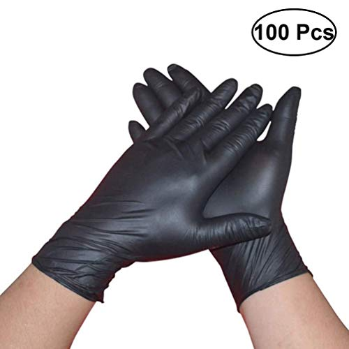 200x Zwarte Nitril Wegwerphandschoenen, Latex- En Poedervrij, Medium, Garagereiniging/Tatoeage/Schoonheid Haarkleur/Industrieel Onderzoek (Color : 200pcs, Size : XL)