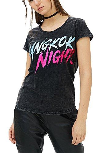 trueprodigy Casual Mujer Marca Camiseta con impresión Estampada Ropa Retro Vintage Rock Vestir Moda Cuello Redondo Manga Corta Slim Fit Designer Fashion T-Shirt, Colores:Black, Tamaño:S