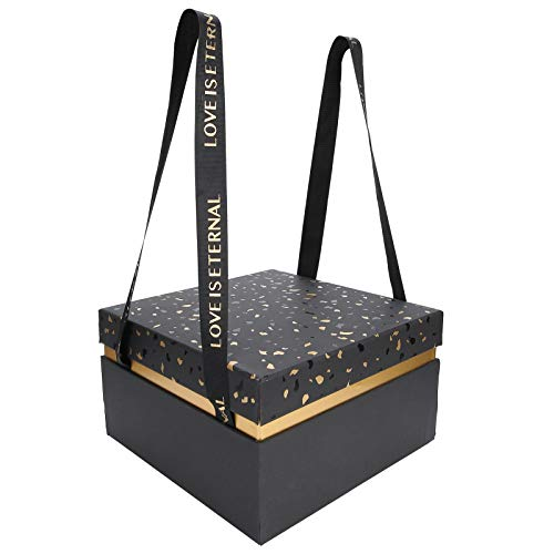 HAOX Caja de Almacenamiento de Regalo, Caja de contenedor de Regalo Caja de Regalo Plegable Multiusos Caja de Regalo de Boda(Black [Single Gift Box])