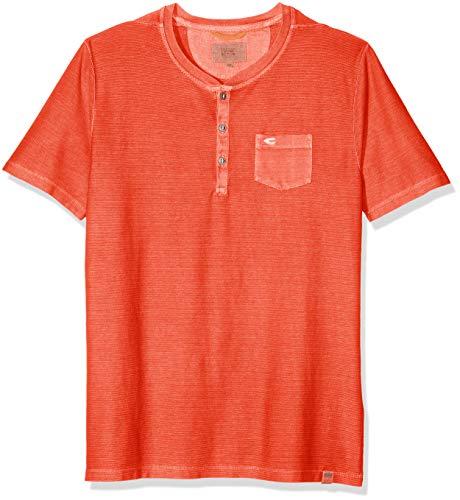camel active Herren Henley 1/2 T-Shirt, Rot (Coral Core 43), Large (Herstellergröße: L)