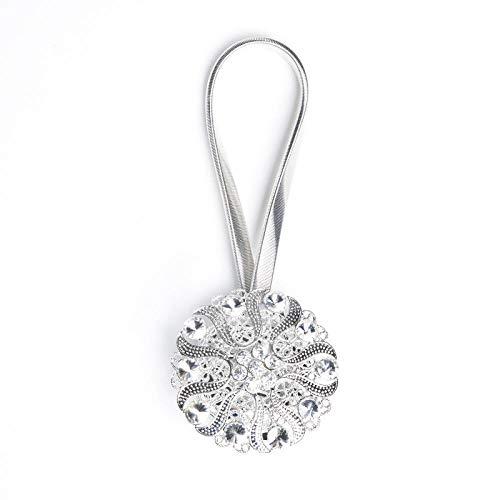 Bevestig de gordijnen in Europese stijl met touw, koord, creatieve veer, magneet, gesp, lus, oog, ring, gordijnband, 2 paar. Diamant Blanc Argenté
