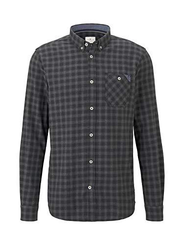 TOM TAILOR Herren Ray Vichy Freizeithemd, Violett (Black Grey Check 20202), Large (Herstellergröße: L)