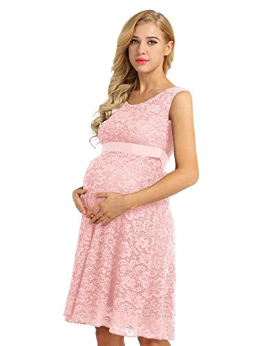 iiniim Damen Umstandskleid Festlich Kleid aus Spitze Ärmellos Mutterschafts Schwangerschaftskleid M -3XL Rosa XXL