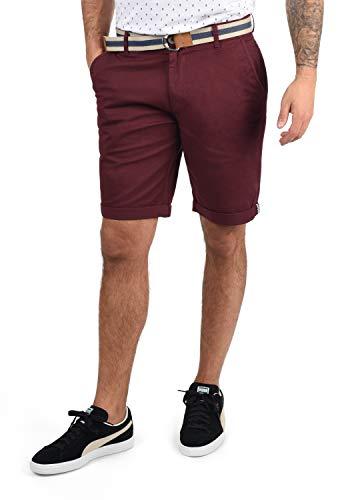 !Solid Monty Herren Chino Shorts Bermuda Kurze Hose Mit Gürtel Aus Stretch-Material Regular-Fit, Größe:3XL, Farbe:Wine Red (0985)