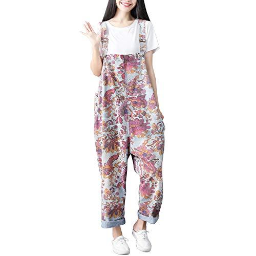 Sidiou Group Damen Casual Printed Baggy Hose Weite Bein Latzhosen Spielanzug Jumpsuit Spielanzug (One Size, Stil 11