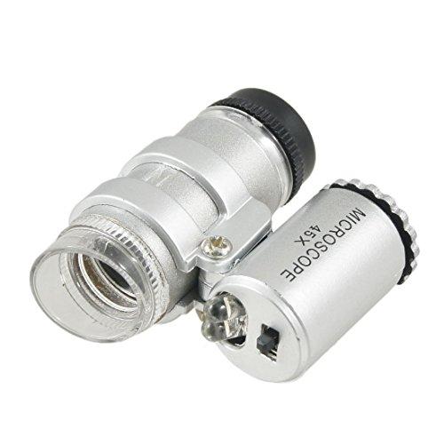 Cnmade Mini-Taschenmikroskop, Juwelierlupe, 45-fache Vergrößerung mit LED-Licht