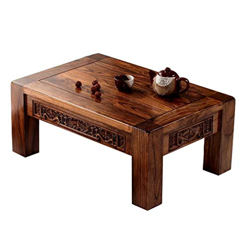 Tables basses Table Antique en Bois Massif sculpté Baie vitrée Table Tatami Japonais Balcon Moderne Petite Table Tables basses (Color : Brown, Size : 70 * 45 * 30cm)