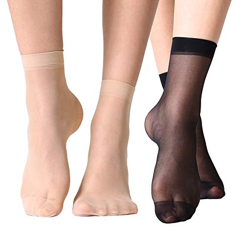 MANZI 12 Pairs Women's Ankle High Sheer Socks (6 Pairs Black,6 Pairs Nude)