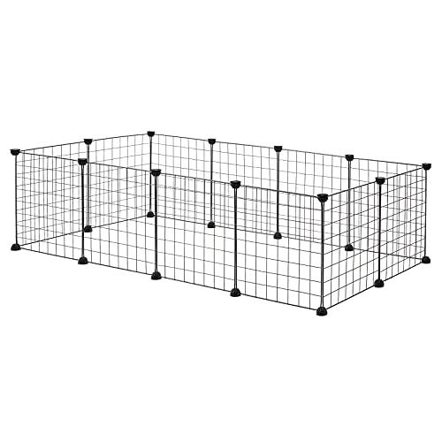 EUGAD Freigehege für Kaninchen Hasen Meerschweinchen Welpenauslauf Laufgitter DIY 12 Platten Schwarz 145 x 75 x 35 cm 0002WL