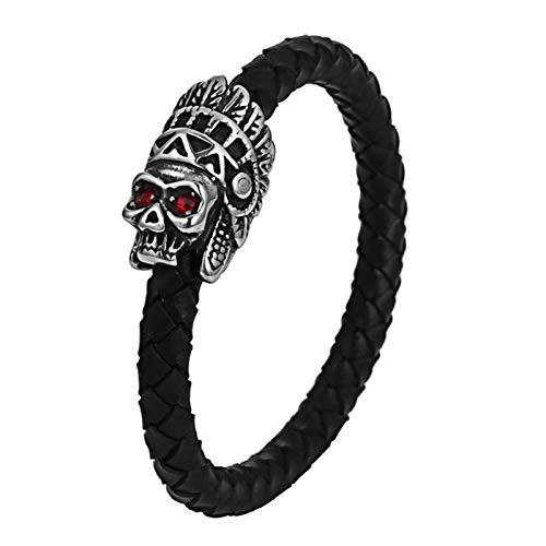Bishilin Leder Armband Herren Schwarz 22 cm Indianer Totenkopf Rot Zirkonia Armband Schwarz Freundschaftsarmband