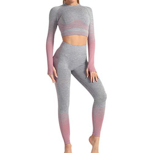Conjunto Tops Yoga Seamless Gradient Yoga Top de Manga Larga Pantalon Deportivo Leggings Sin Costuras Mujer Alta Cintura Elásticos Fitness para Mujeres Gym Running Yoga (Rosado, S)