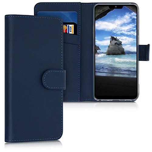 kwmobile Funda Compatible con LG G7 ThinQ/Fit/One - De Cuero sintético - Case con Tarjetero en Azul Oscuro