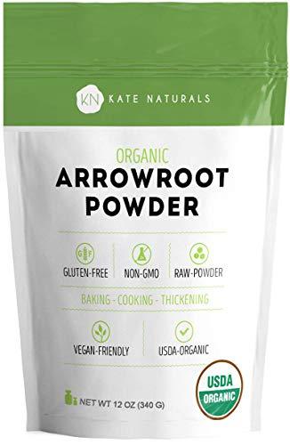 Arrowroot Flour Organic - Kate Naturals. Baking, Cooking, Thickening Sauces & Gravy. DIY Shampoo, Deodorant. Resealable Bag. Gluten-Free & Non-GMO. 1-Year Guarantee (12 oz)