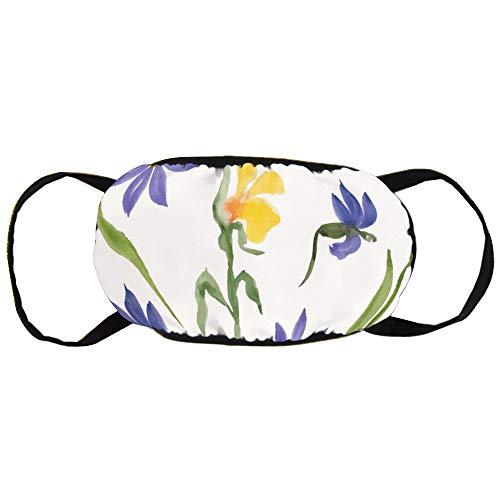 Watergekleurd blauw en geel bloemen katoenen gezichtsmasker mouth met modieuze anti-douche gezicht maskers oorloops herbruikbaar mouth muffle masker