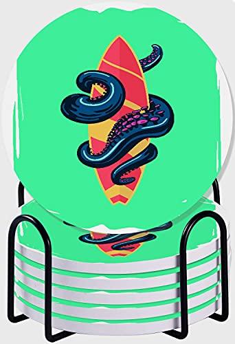 CIKYOWAY Posavasos para Bebidas,Pulpo con Tabla de Surf Juego de 6 Posavasos absorbentes con Soporte de Metal/Fondo de Corcho,para Casa Restaurante Y Bar