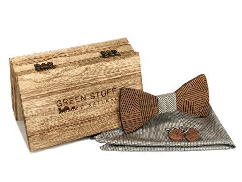 GREEN STUFF Johan - Die Öko Holzfliege - handgefertigt aus Walnussholz mit passenden Manschettenknöpfe und Einstecktuch |1 VERKAUFTES PRODUKT = 1 GEPFLANZTER BAUM| ([Silber Raster])