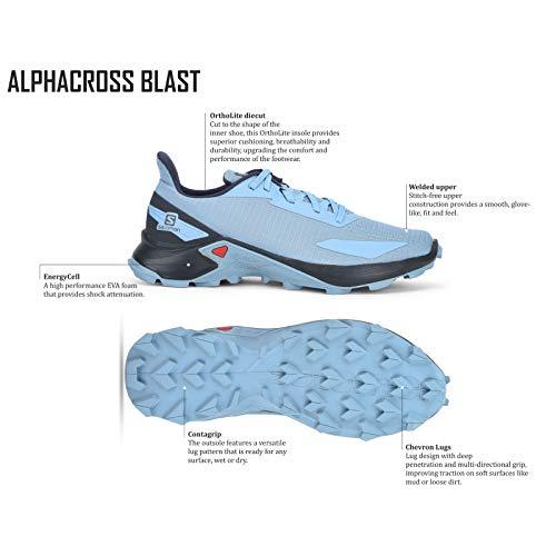 Salomon Alphacross Blast, Zapatillas De Trail Running Cómodas Y Fuerte Agarre Hombre, Color: Azul (Ashley Blue/Ebony/Ashley Blue), 46 2/3 EU