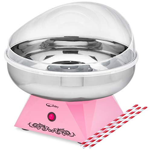 The Candery Premium Cotton Candy Machine - Large Stainless Steel Bowl- Works With Hard Candy, Sugar Free Candy, Sugar Floss, Homemade Sweets for Birthday Parties - Includes 10 Candy Cones & Scooper