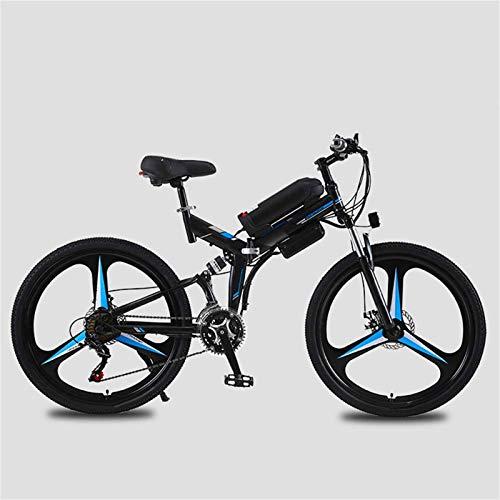 Bicicleta eléctrica de nieve, Bicicleta de montaña 21 Velocidad E Bicicleta 26 pulgadas eléctrica Plegable Doble Do Doble Freno Suspensión Montaña Bicicletas de Montaña 10Ah 70 Kilómetros Nivel de res