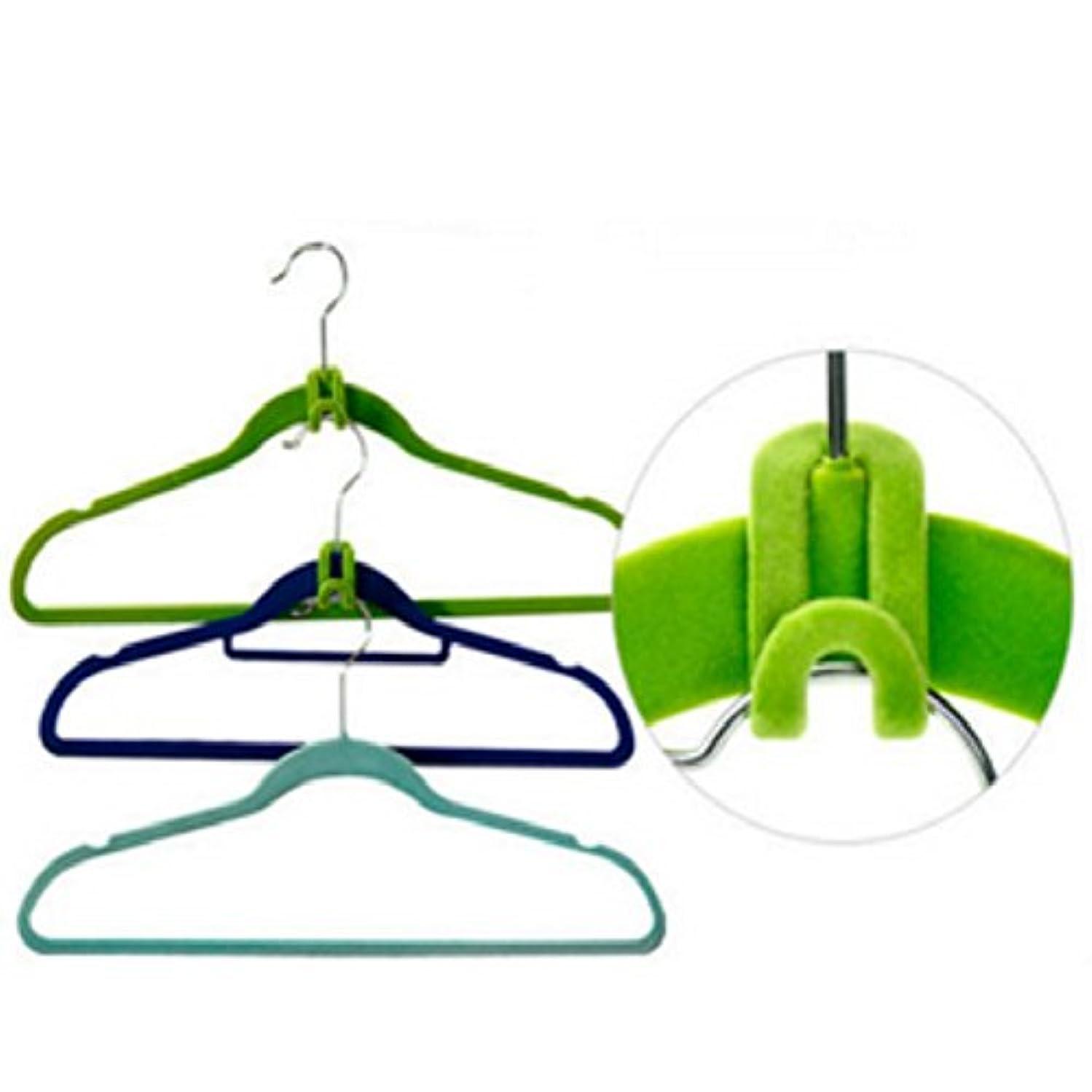 GOSONO 10Pcs/Set Home Creative Mini Flocking Clothes Hanger Flocking Holder Easy Anti-Clip Hook Closet Organizer