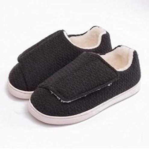 Herenpantoffels met brede pasvorm,Speciale voet type oude schoenen, zachte bodem plus fluwelen kraamschoenen-44 / 45_Zwart grijs,Plantar Fasciitis sneakers Air Shoe