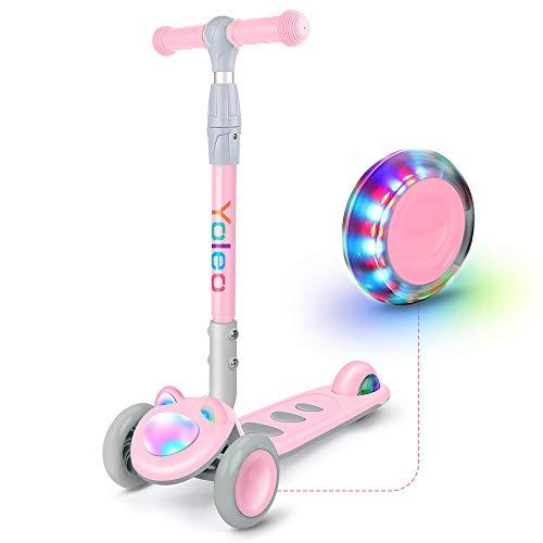 YOLEO Kinder Roller Scooter Kinderscooter Dreiradscooter mit LED große Räder und Rollerfront, Höheverstellbare Lenker für Kleinkinder Jungen Mädchen ab 2Jahre, bis 50kg belastbar, Süße Kätzchen (Rosa)