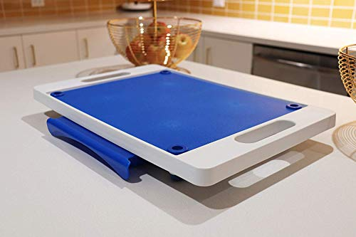 Karving King Kitchen Dripless Cutting Board 2 in 1 System | Non Slip Feet & Spikes Hold Food in Place while Carving | Juice Groove Fills Drip Collection Drawer for Gravy & Easy Clean Up | Blue