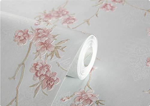 qingci Papel Tapiz Romántico 3D Floral para Paredes En Rollos Papeles Pintados para Sala De Estar Dormitorio Flores Tridimensionales Azul Cálido