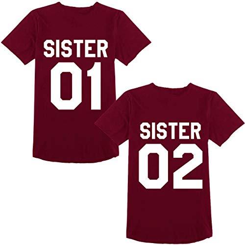 Beste Freunde Best Friends Shirts für Zwei Mädchen Tshirt mit Aufdruck Sister Damen Tops Frau Oberteil Sommer Kurzarm 2 Stücke (Weinrot, Sister-01-M+02-XL)
