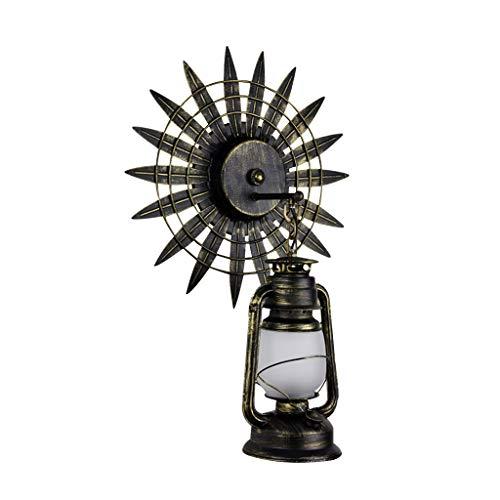 ZH Apliques Estilo Industrial Retro Luz de Pared American Creative Old Craft Interior Sala de Estar Escalera de Caracol Exterior Hierro E27 Lámpara de Pared Lámpara de keroseno Antigua (Color : A)
