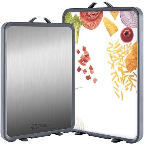 """SMTENG Schneidebrett mit Ständer, leicht zu reinigende rutschfeste doppelseitige Küchenschneidebretter aus Edelstahl und Kunststoff für Fleisch und Gemüse. BPA-frei. Schneidebrett Groeße: 16,7""""x 12"""""""