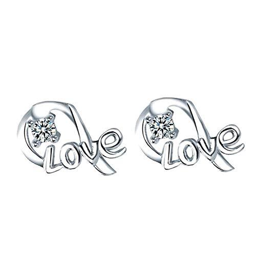 QIAMUCJC Pandora 925 Cuentas de joyería de Plata esterlina Carta de Amor con Pendientes de circón Modelos Femeninos adecuados para el Día de San Valentín Regalos de Bricolaje Mujeres