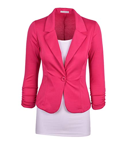Auliné Collection Women's Casual Work Solid Color Knit Blazer Hot Pink 1X