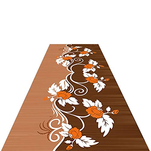 Rug American Style Hallway Carpet, Long Thin Area Rug Runner Non Slip Indoor Doormat with Floral Pattern, Brown Rugs 60/80/100cm Wide (Size : 60×300cm)