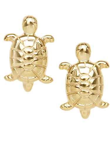 MyGold Schildkröte Ohrstecker Ohrringe Stecker Gelbgold 585 Gold (14 Karat) 8mm x 5mm Goldohrringe Damenohrringe Kinderohrringe Tortuga O-00164-G401