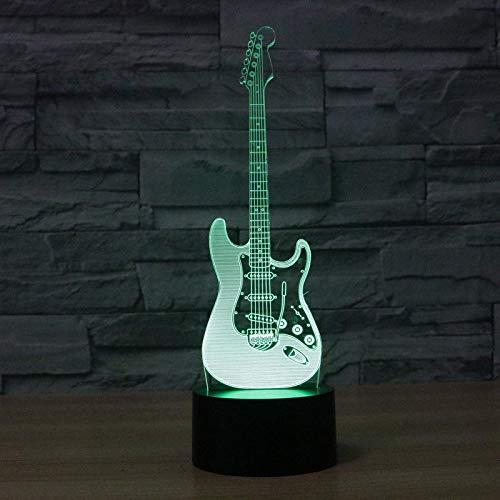 3D Illusion Lamp,Led Night Light Musikinstrument Guitar Spielzeug LED Nachtlicht 3D Illusionslampe, 16 Farbwechselbeachtung Tischlampe für Schlafzimmer mit Fernbedienung, USB-Ladeschalterlampen für Zu