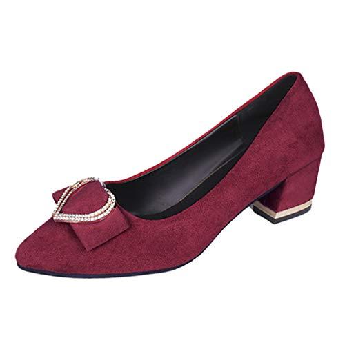 Vrouwen midden hoge hak werk schoenen, dames Fashion Crystal puntige teen Loafers Causal schoenen enkele schoenen