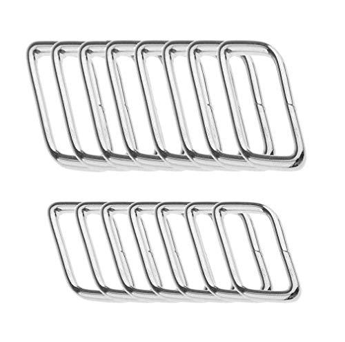 Ymwave 40 Stück Metall Quadrat Ringe Rechteck Metall Ring 32 mm 38 mm Breite für Tasche oder Geldbör - Silber
