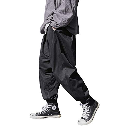 KOGARASI ワイドパンツ サルエルパンツ メンズ 袴パンツ ゆるゆる ジョガーパンツ ロング ズボン 無地 ビッグ ウェストゴム紐付き ブラック グリーン カーキ ヒップポップ オールシーズン (ブラック, XL)