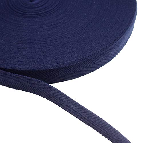 【町田絲店】アクリル綾テープ(20�o幅・50m巻) 平紐 手提げ 手芸 バッグ持ち手 アクリルテープ 厚さ1ミリ (紺)