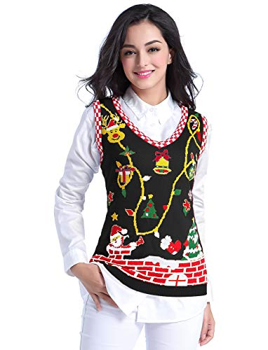 v28 Ugly Christmas Sweater for Women Reindeer Funny Merry Knit Sweaters Vest (Large, Christmas Black)