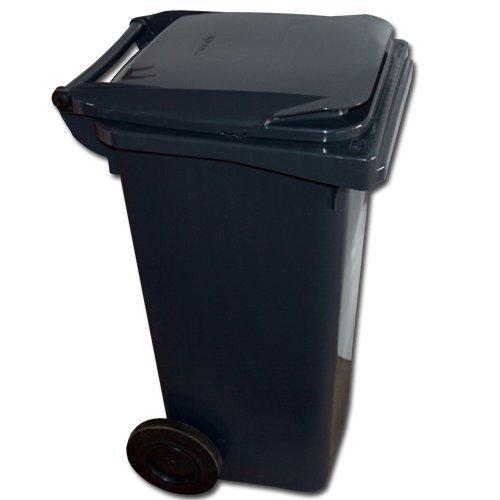 maxpack® Mülltonne - Müllbehälter - Abfalltonne 120 Liter EN 840-1 in schwarz
