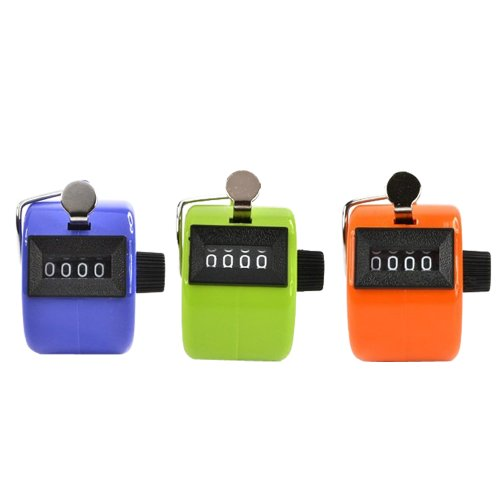 Pack of 3 Color Handheld Tally Counter with 4 Digit Display for Lap/Sport/Coach/School/Event